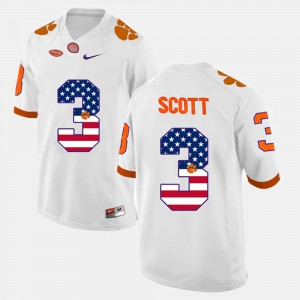Men's US Flag Fashion #3 CFP Champs Artavis Scott college Jersey - White