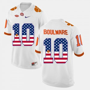 Men's #10 Ben Boulware college Jersey - White US Flag Fashion Clemson Tigers