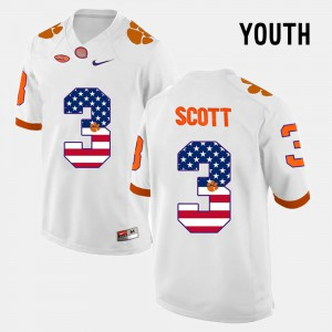 Kids Clemson National Championship US Flag Fashion #3 Artavis Scott college Jersey - White