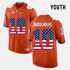 Youth Clemson University #10 US Flag Fashion Ben Boulware college Jersey - Orange