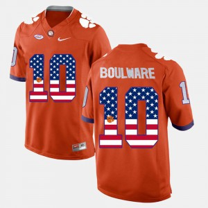 Men Clemson Tigers US Flag Fashion #10 Ben Boulware college Jersey - Orange