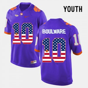 Kids #10 US Flag Fashion Clemson University Ben Boulware college Jersey - Purple