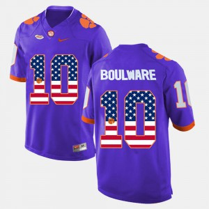 Men #10 Clemson US Flag Fashion Ben Boulware college Jersey - Purple