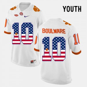 Kids #10 US Flag Fashion CFP Champs Ben Boulware college Jersey - White
