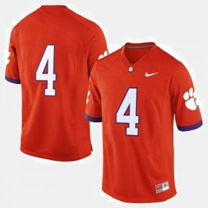 Men #4 college Jersey - Orange Football Clemson