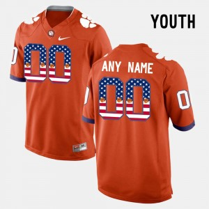 Youth #00 US Flag Fashion Clemson college Custom Jersey - Orange