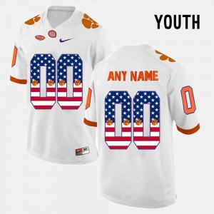 Kids Clemson #00 US Flag Fashion college Customized Jersey - White