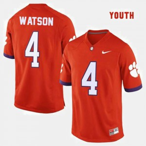 Youth Football Clemson National Championship #4 Deshaun Watson college Jersey - Orange