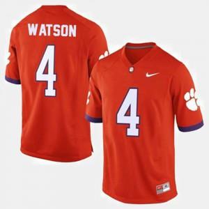 Men's Football Clemson University #4 Deshaun Watson college Jersey - Orange