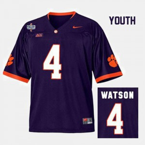 Kids Clemson National Championship Football #4 Deshaun Watson college Jersey - Purple