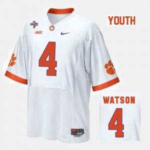 Kids #4 Deshaun Watson college Jersey - White Football Clemson