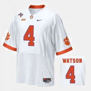 Men's Clemson National Championship Football #4 Deshaun Watson college Jersey - White