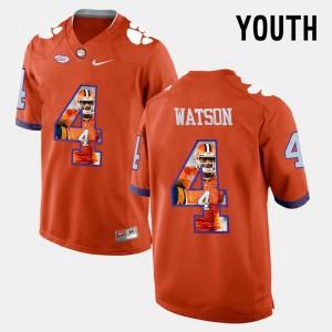 Youth(Kids) Clemson University #4 Pictorial Fashion DeShaun Watson college Jersey - Orange