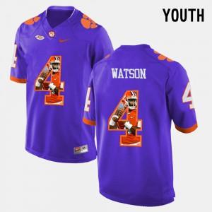 Kids #4 CFP Champs Pictorial Fashion DeShaun Watson college Jersey - Purple