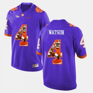 Men #4 Pictorial Fashion Clemson Tigers DeShaun Watson college Jersey - Purple