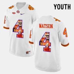 Youth #4 Clemson Pictorial Fashion DeShaun Watson college Jersey - White