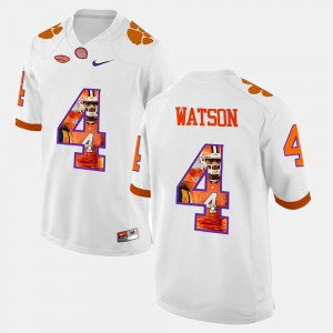 Mens #4 Clemson University Pictorial Fashion DeShaun Watson college Jersey - White
