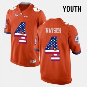 Youth(Kids) US Flag Fashion Clemson Tigers #4 DeShaun Watson college Jersey - Orange
