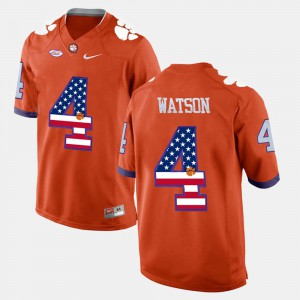 Men CFP Champs #4 US Flag Fashion DeShaun Watson college Jersey - Orange