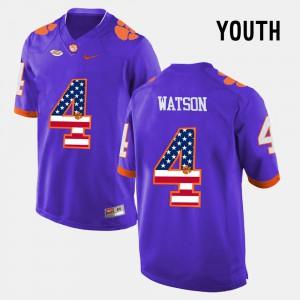 Kids #4 US Flag Fashion Clemson Tigers DeShaun Watson college Jersey - Purple