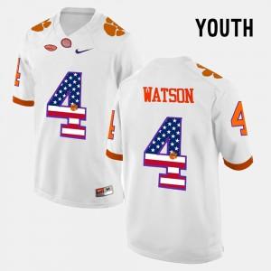 Youth CFP Champs #4 US Flag Fashion DeShaun Watson college Jersey - White