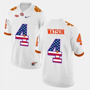 Men's Clemson National Championship US Flag Fashion #4 DeShaun Watson college Jersey - White