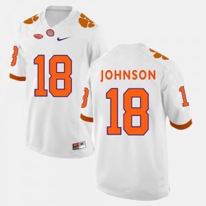 Mens #18 Clemson Tigers Football Jadar Johnson college Jersey - White