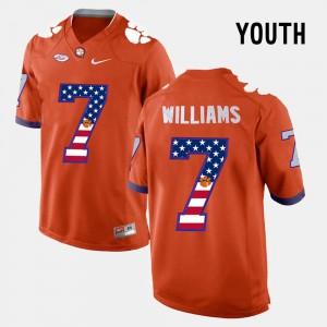 Youth(Kids) US Flag Fashion Clemson University #7 Mike Williams college Jersey - Orange