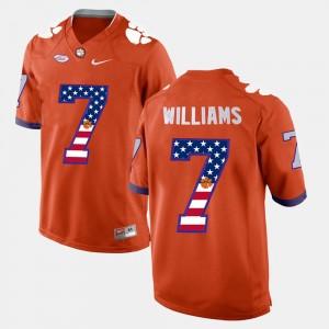 Mens Clemson Tigers #7 US Flag Fashion Mike Williams college Jersey - Orange