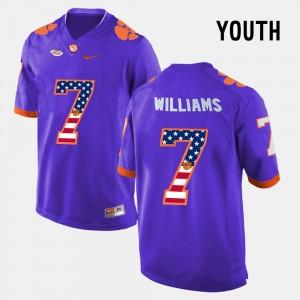 Kids #7 Clemson University US Flag Fashion Mike Williams college Jersey - Purple