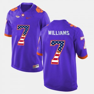 Mens #7 US Flag Fashion Clemson National Championship Mike Williams college Jersey - Purple
