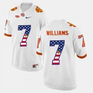 Men's US Flag Fashion #7 Clemson University Mike Williams college Jersey - White