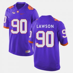 Men's #90 Clemson University Football Shaq Lawson college Jersey - Purple