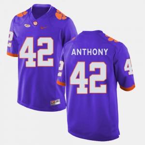 Men #42 Football Clemson University Stephone Anthony college Jersey - Purple