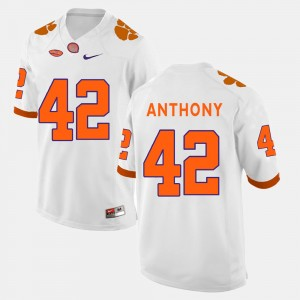 Men Football Clemson National Championship #42 Stephone Anthony college Jersey - White