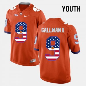 Youth Clemson Tigers US Flag Fashion #9 Wayne Gallman II college Jersey - Orange