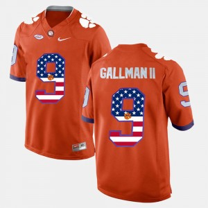Men's US Flag Fashion #9 Clemson University Wayne Gallman II college Jersey - Orange