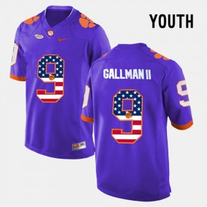 Youth US Flag Fashion #9 Clemson Wayne Gallman II college Jersey - Purple