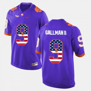 Men US Flag Fashion #9 Clemson Wayne Gallman II college Jersey - Purple