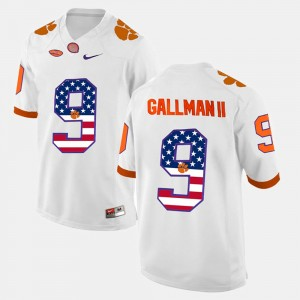 Men #9 CFP Champs US Flag Fashion Wayne Gallman II college Jersey - White