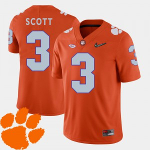 Men 2018 ACC Clemson Tigers #3 Football Artavis Scott college Jersey - Orange