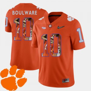 Mens Clemson University Pictorial Fashion Football #10 Ben Boulware college Jersey - Orange
