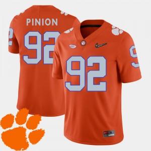 Mens #92 Clemson National Championship Football 2018 ACC Bradley Pinion college Jersey - Orange