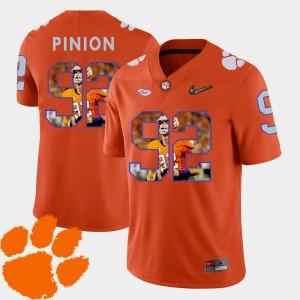 Men's #92 Bradley Pinion college Jersey - Orange Pictorial Fashion Football Clemson