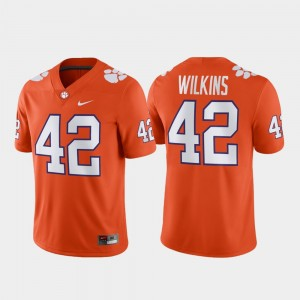 Men's Game Clemson National Championship Football #42 Christian Wilkins college Jersey - Orange