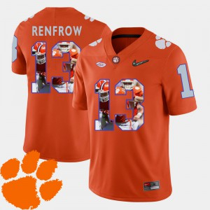 Men Pictorial Fashion #13 Football Clemson University Hunter Renfrow college Jersey - Orange