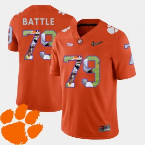 Mens Football #79 CFP Champs Pictorial Fashion Isaiah Battle college Jersey - Orange