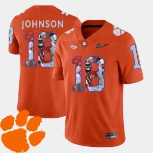 Men's Clemson Tigers #18 Football Pictorial Fashion Jadar Johnson college Jersey - Orange