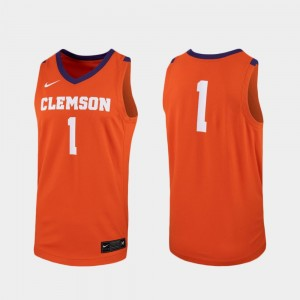 Men's Replica #1 Basketball Clemson University college Jersey - Orange