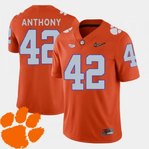 Men Football Clemson University #42 2018 ACC Stephone Anthony college Jersey - Orange